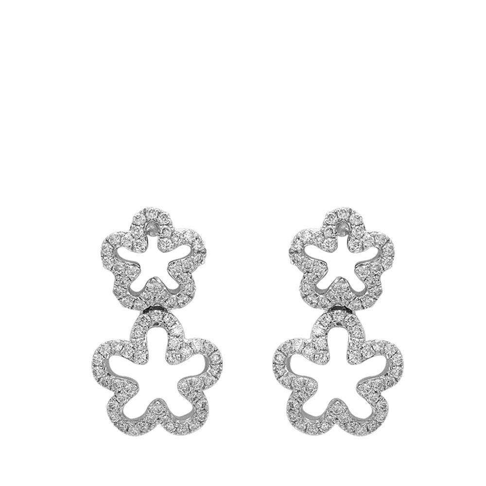 0,34 ct Diamant Blumen Ohrringe