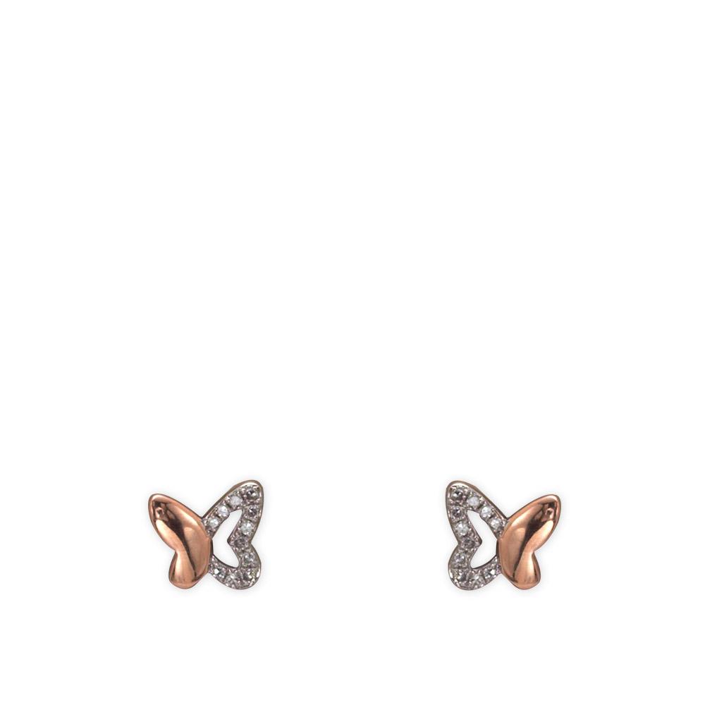 0,06 ct Diamant Schmetterling Ohrringe