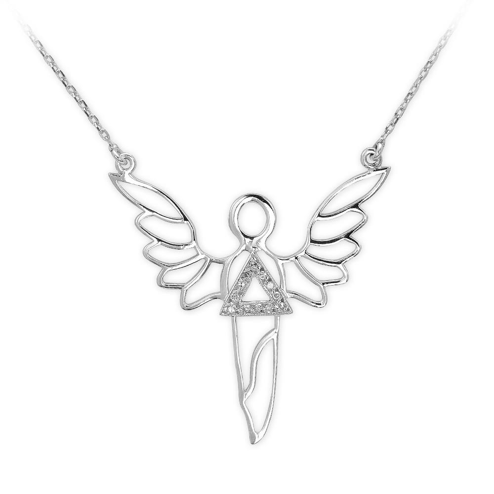 0,03 ct Diamant Silber Erzengel der Kraft Sandalphon Kette