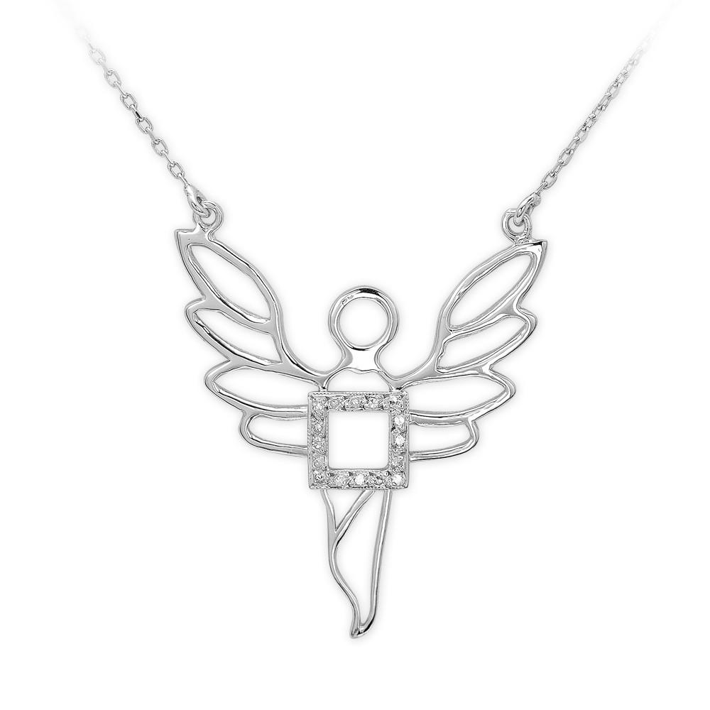 0,03 ct Diamant Silber Erzengel des Wohlstands Ariel Kette