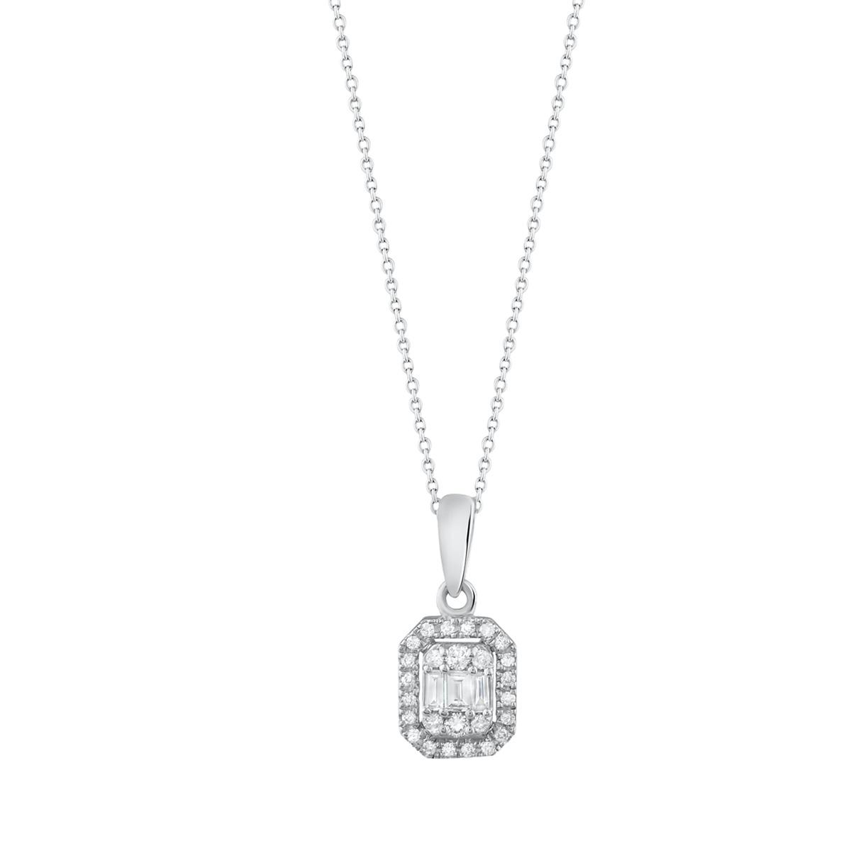 0,10 ct Diamant Baguette Halskette