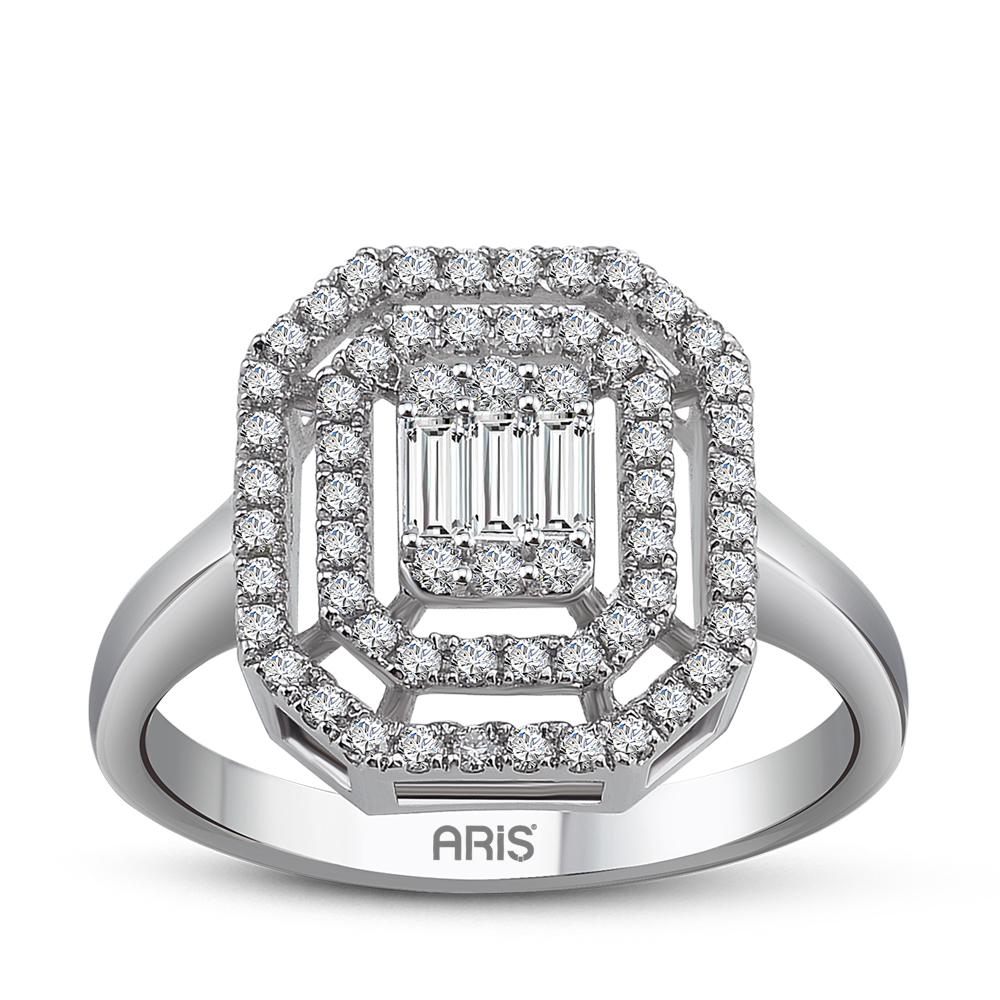Damenring Goldring Diamant Baguette Ring 585/-14 Karat Weißgold