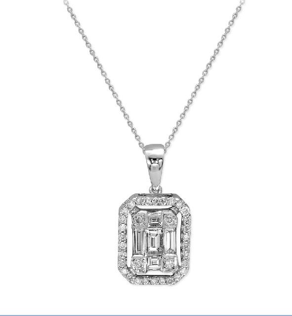 ct. 0.35  Baguette  Diamant Anhänger