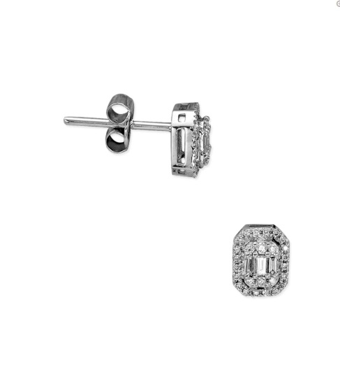 0,21 CT  Baguette  Diamant Ohrringe