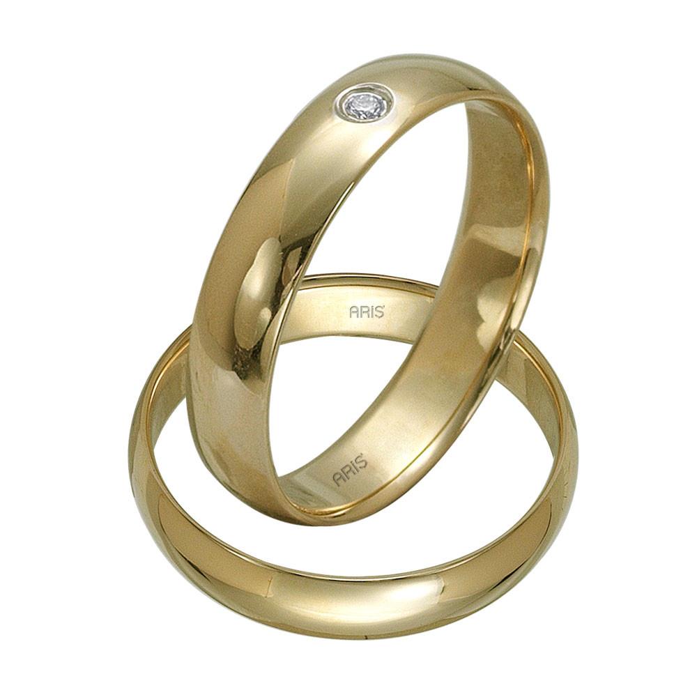 585er 14K Gelb Gold Diamant Trauring