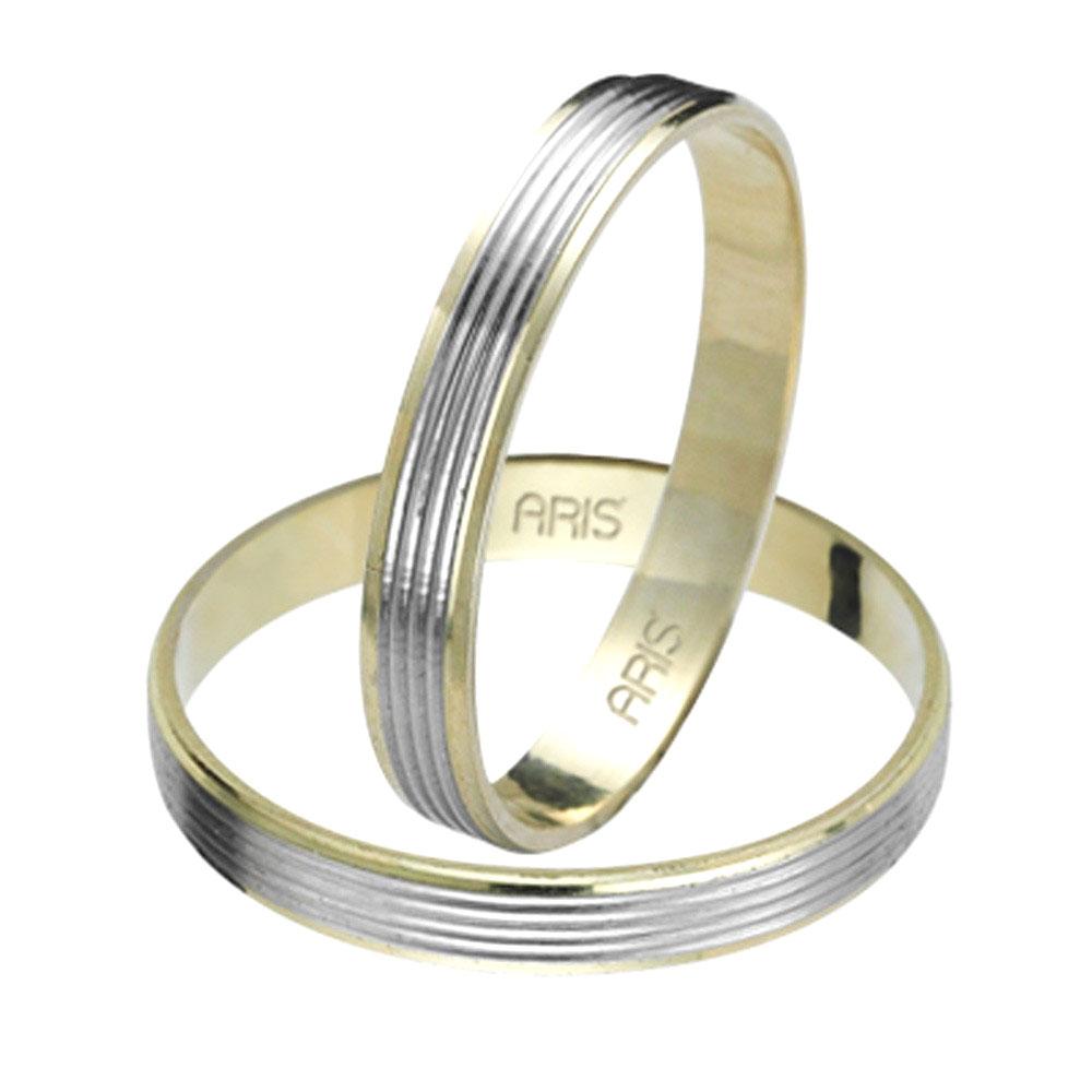 585er Weiβ-Gelb Gold Trauring