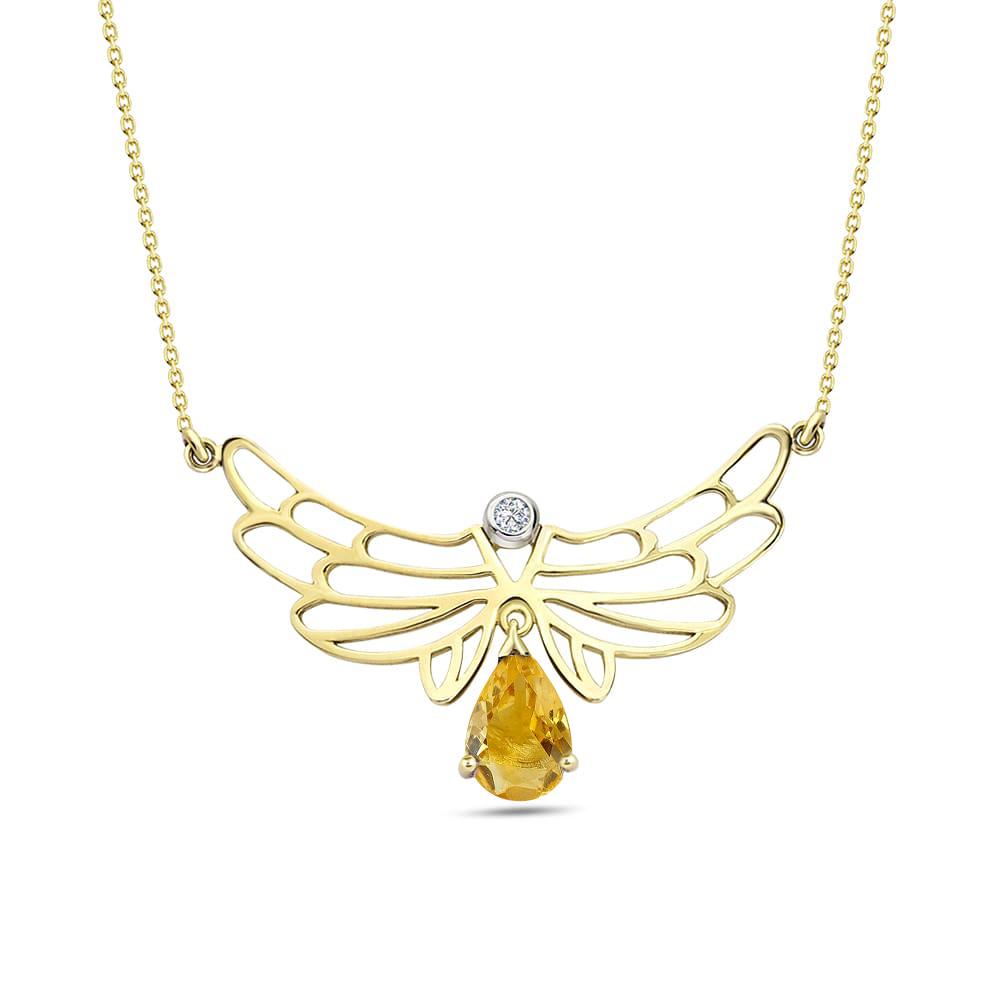 1,14 ct Citrin Diamant  Engelflügel Kette