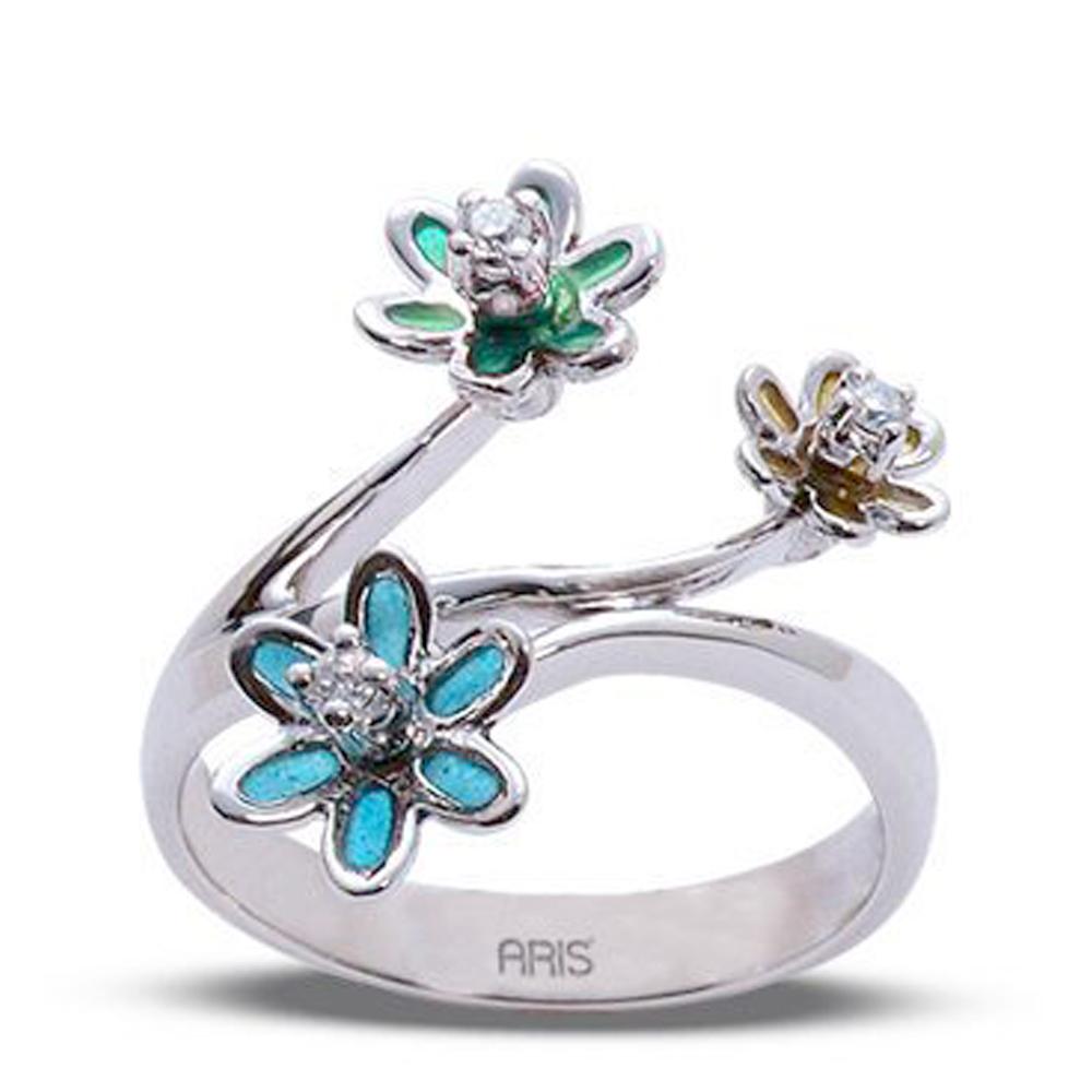 0,06 ct  Diamant Ring mit Blumen Muster