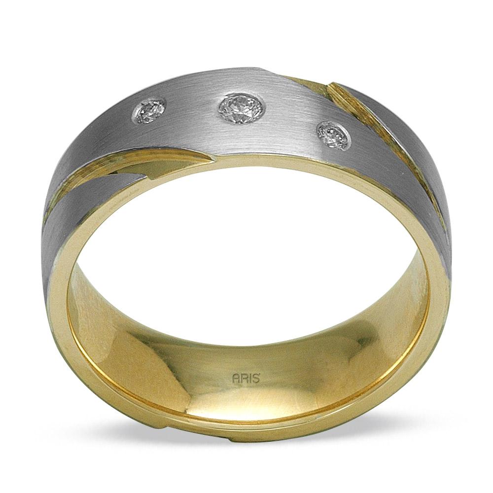 585er 14K Weiβ-Gelb Gold Trauring