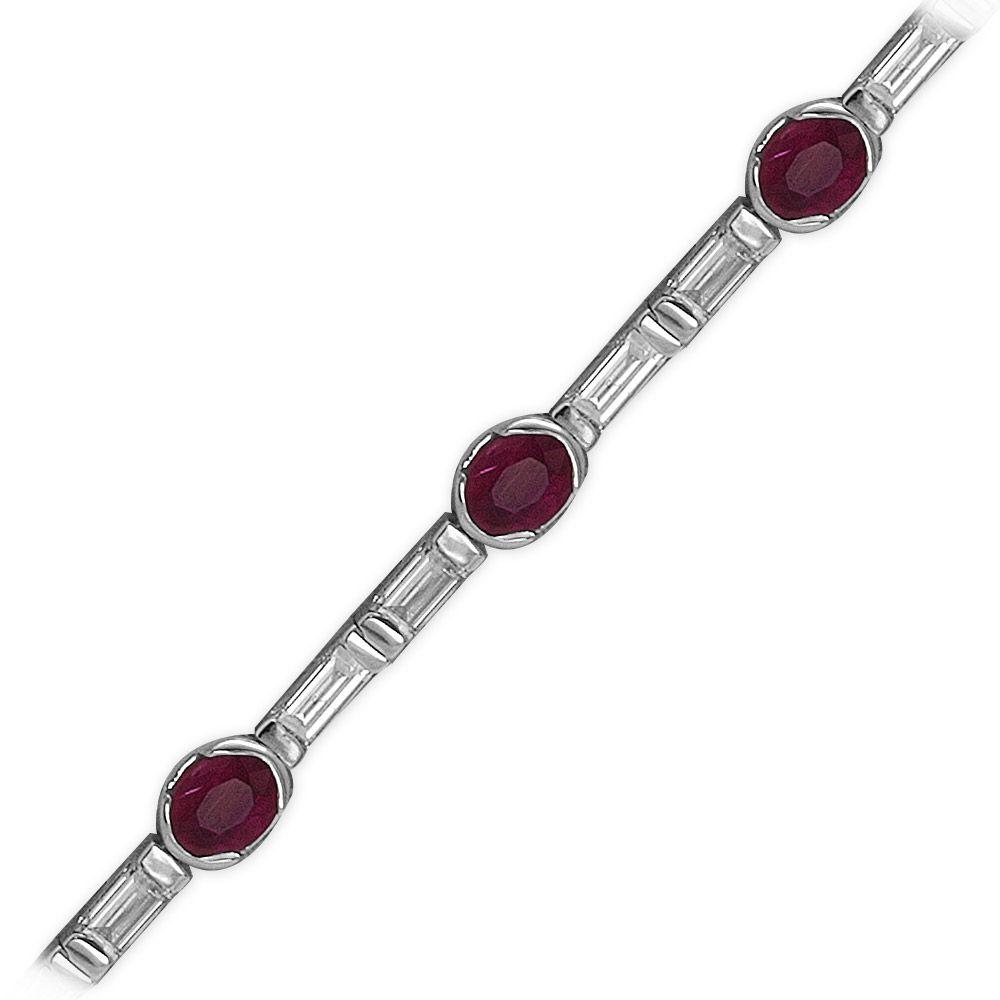 1,90 ct Rubin Diamant Baguette-Schliff Armband