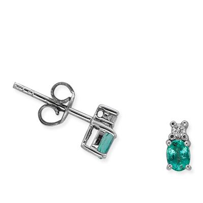 0,47 ct Smaragd Diamant Ohrringe
