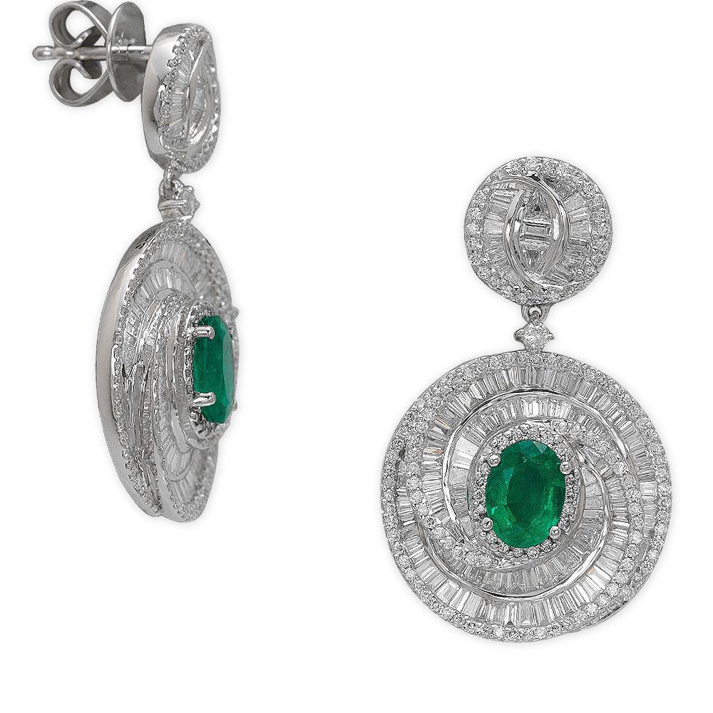 1,53 ct Smaragd Diamant Baguette-Schliff Ohrringe