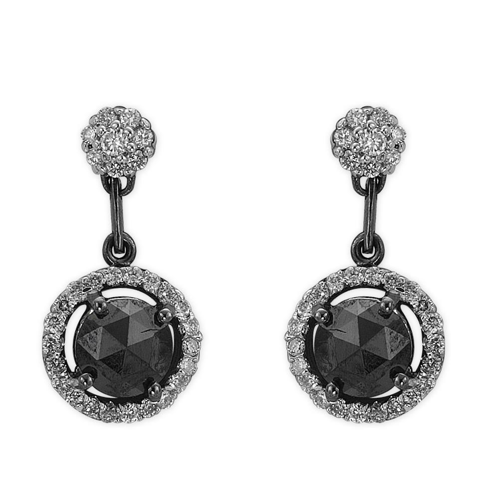 1,84 ct Schwarz Weiß Diamant Ohrringe