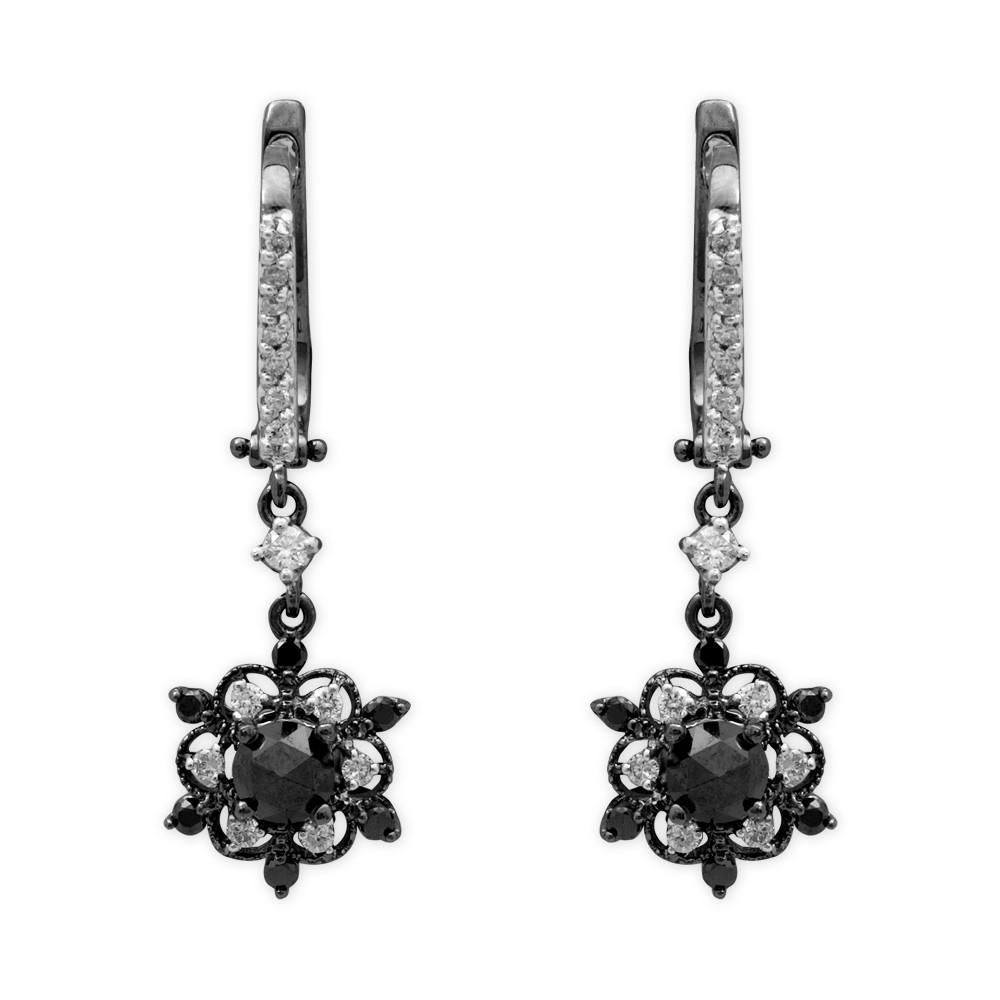 1,18 ct Schwarz Weiß Diamant Ohrringe