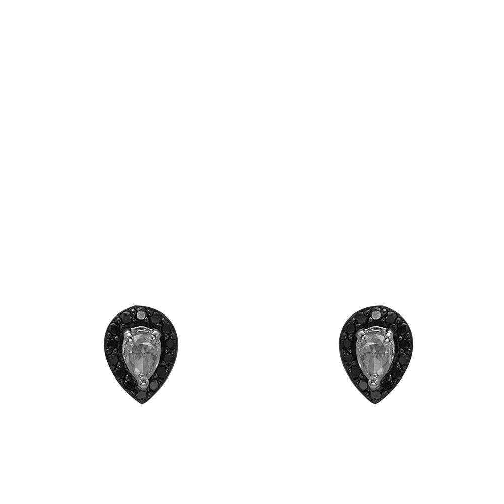 0,34 ct Schwarz Weiß Diamant Ohrringe