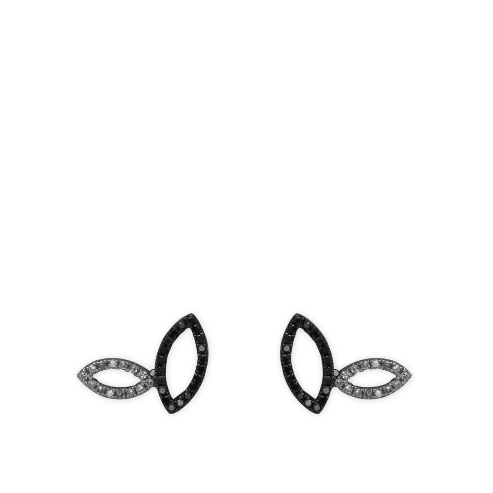 0,18 ct Schwarz Weiß Diamant Ohrringe