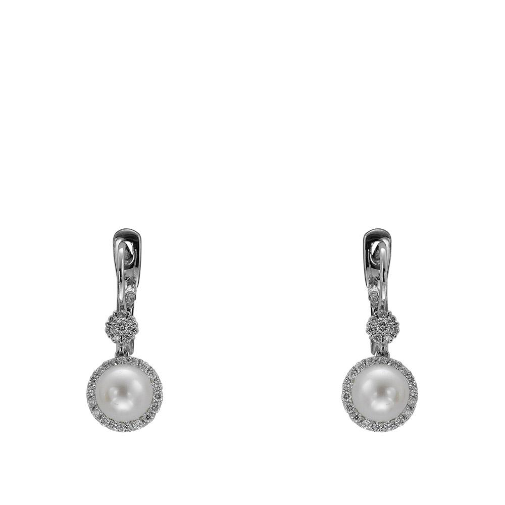 0,38 ct Diamant Perlen Ohrringe