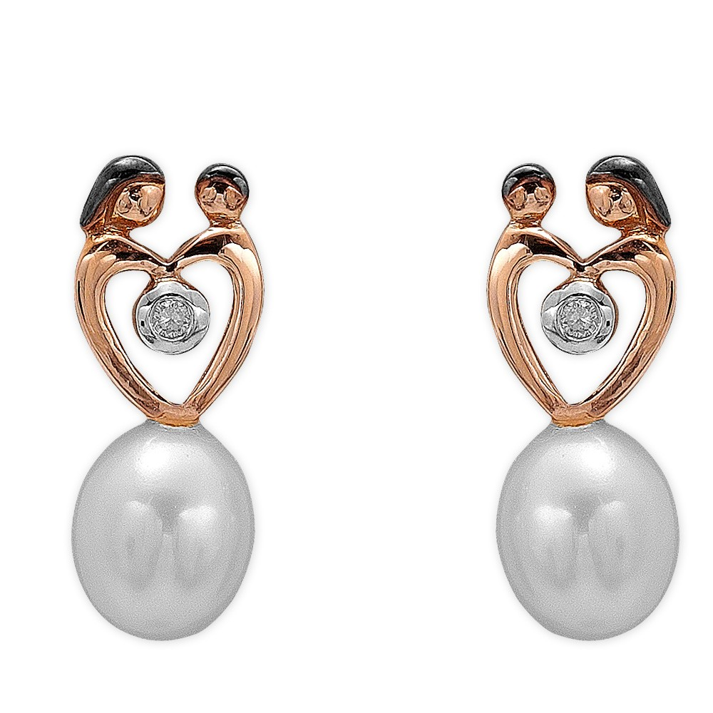 0,04 ct Diamant Mutter Kind Ohrringe