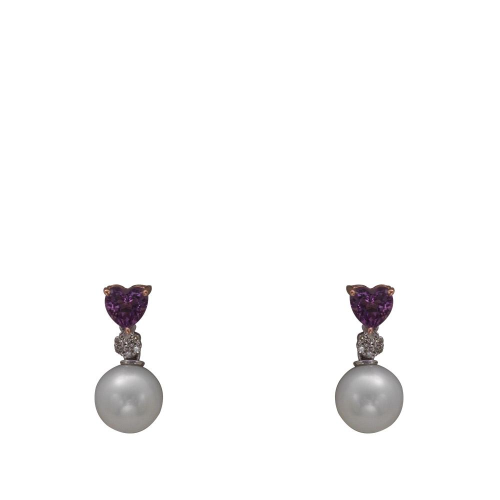 0,62 ct Amethyst Diamant Perlen Ohrringe