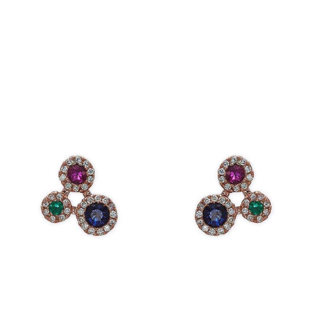0,37 ct Farbedelstein Diamant Ohrringe