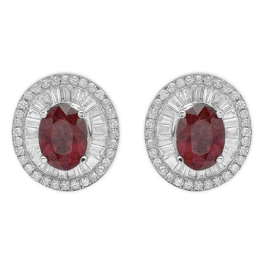 2,36 ct Rubin Diamant Baguette-Schliff Ohrringe