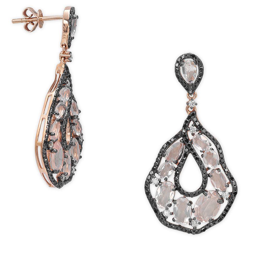 1,05 ct Schwarz Weiß Diamant Ohrring