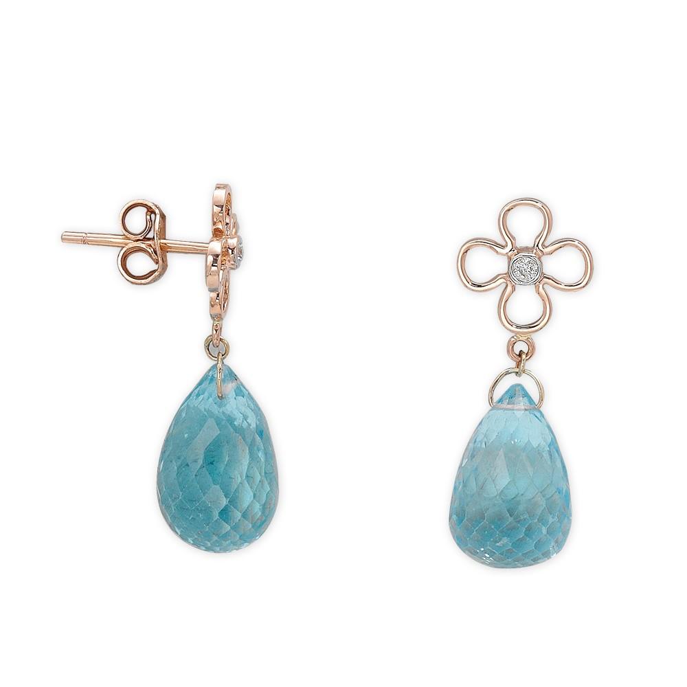 11,32 ct Blautopas Diamant Ohrringe