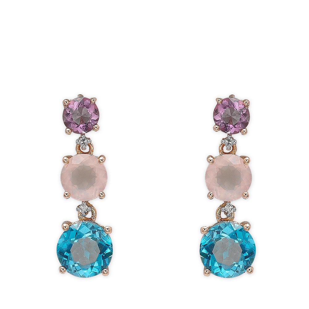 3,38 ct Farbedelstein Diamant Ohrringe