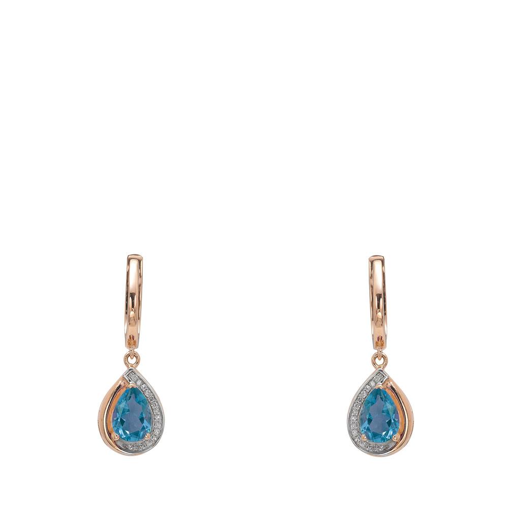 1,50 ct Blautopas Diamant Ohrringe