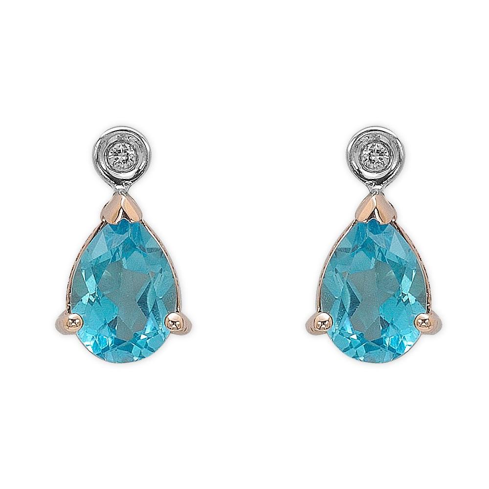 2,58 ct Blautopas Diamant Ohrringe