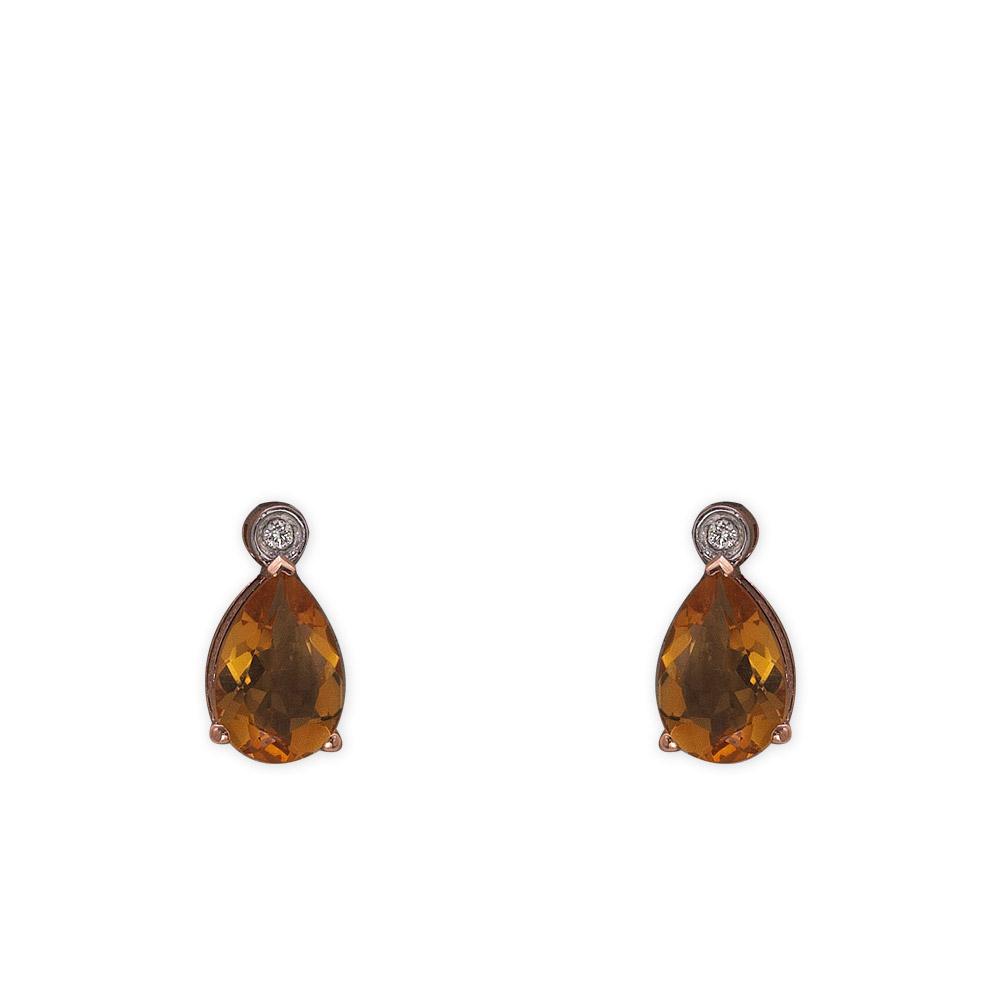 2,06 ct Citrin Diamant Ohrringe