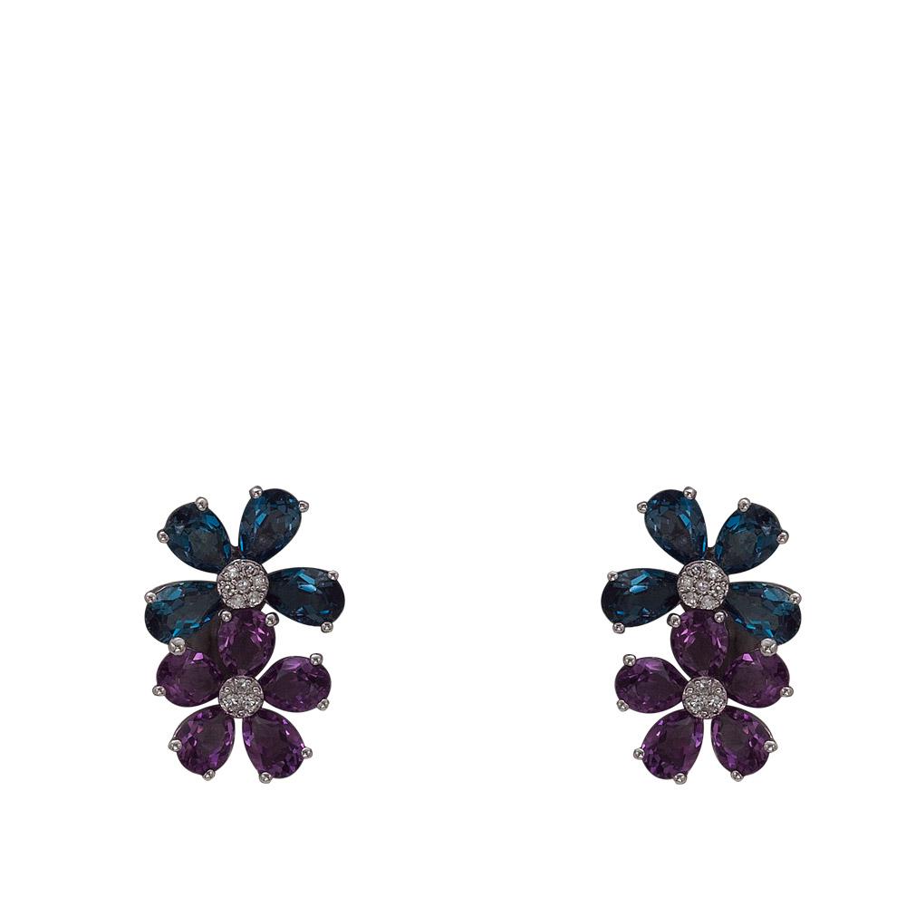 3,34 ct Farbedelstein Diamant Ohrringe