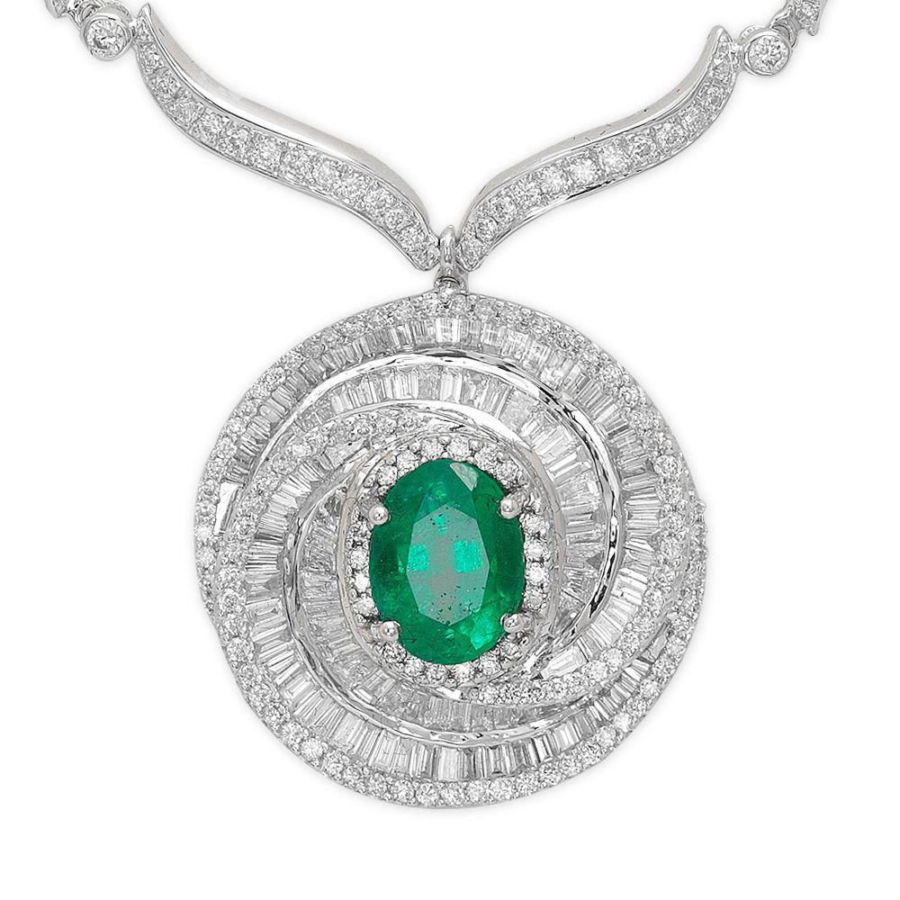 1,35 ct Smaragd Diamant Baguette-Schliff Halskette