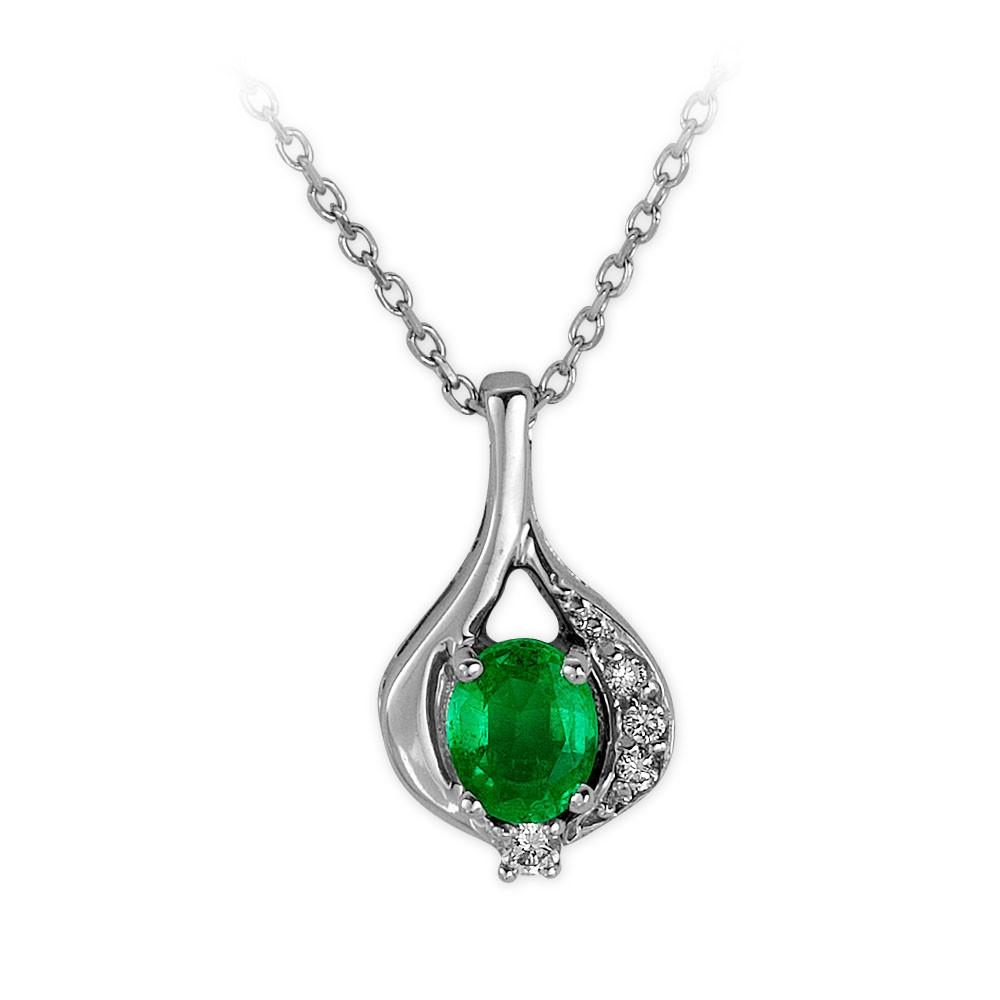 0,31 ct Smaragd Diamant Kette