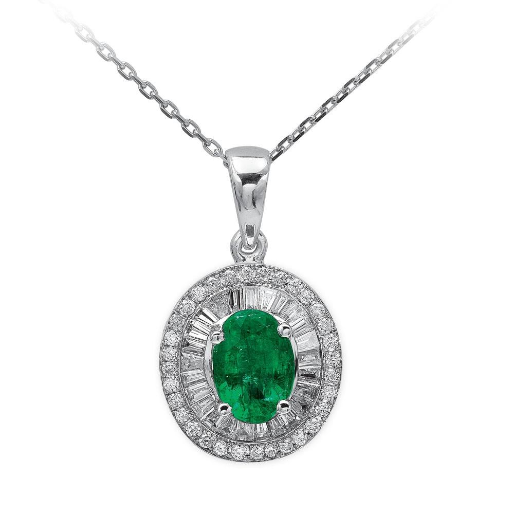0,83 ct Smaragd Diamant Kette