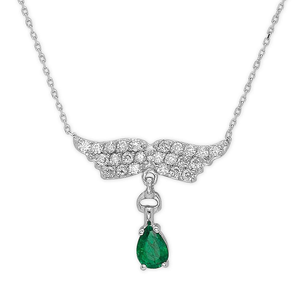 0,14 ct Smaragd Diamant Kette