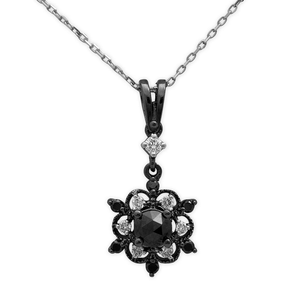 0,67 ct Schwarz Weiß Diamant Kette