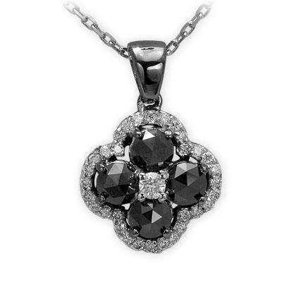 0,81 ct Schwarz Weiß Diamant Kette