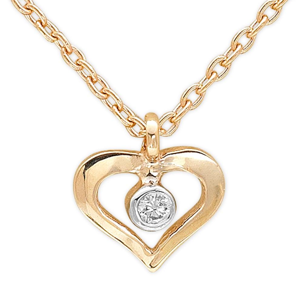 0,01 ct Diamant Herz Kette