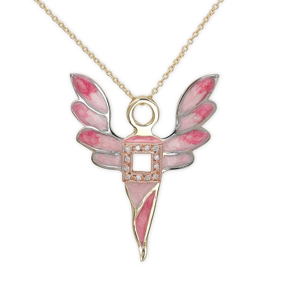 0,03 ct Diamant Erzengel des Wohlstands Ariel Kette