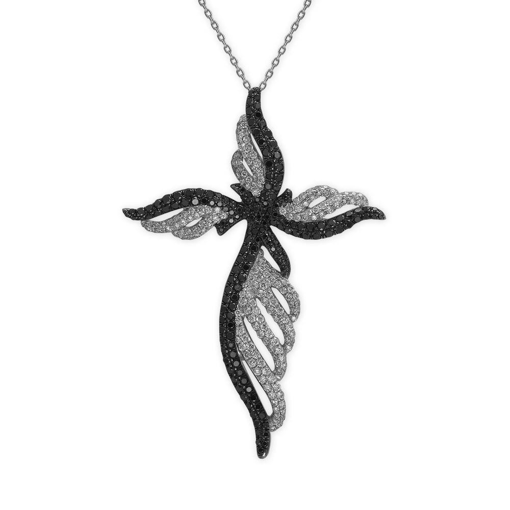 1,09 ct Schwarz Weiß Diamant Kreuz Kette