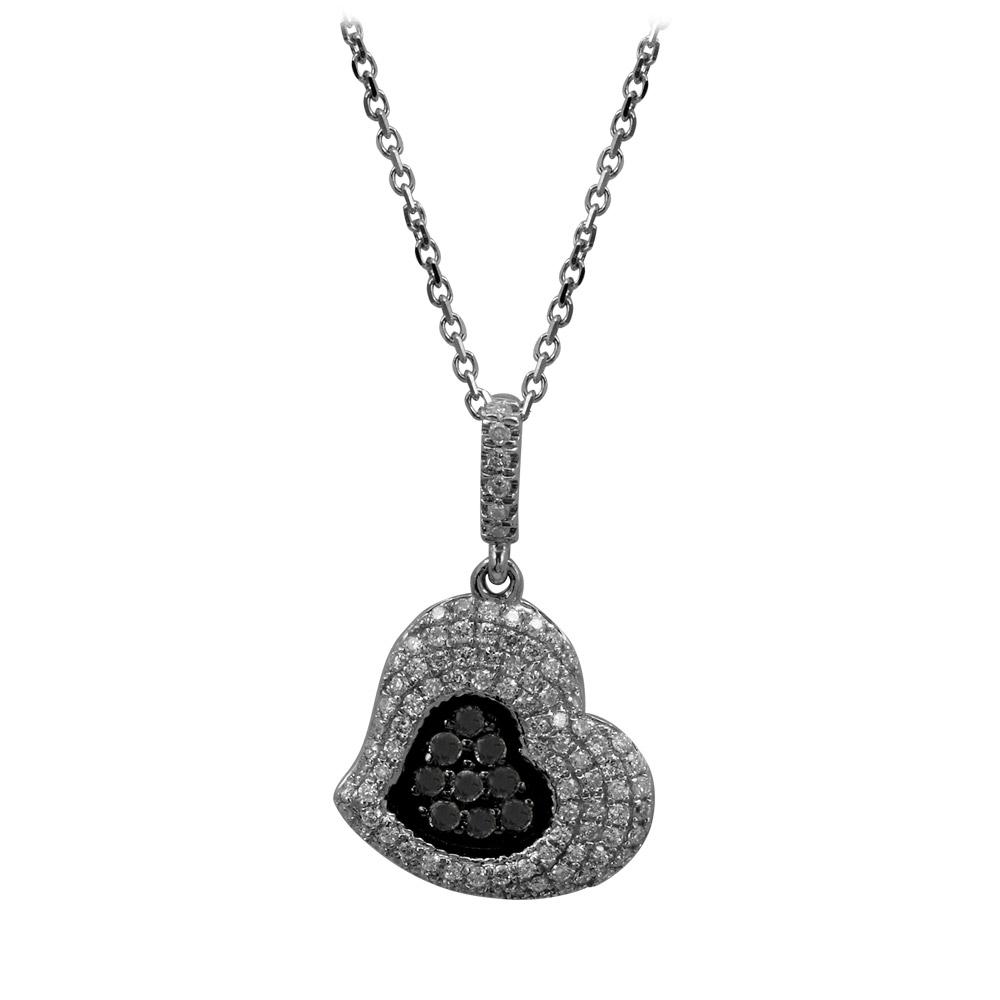 0,38 ct Schwarz Weiß Diamant Herz Kette