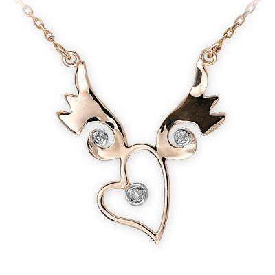 0,03 ct Diamant Herz mit Flügel Kette