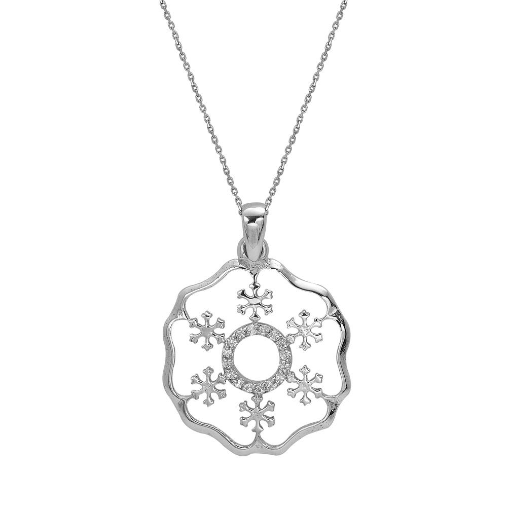 0,06 ct Schneeflocken Diamant Kette