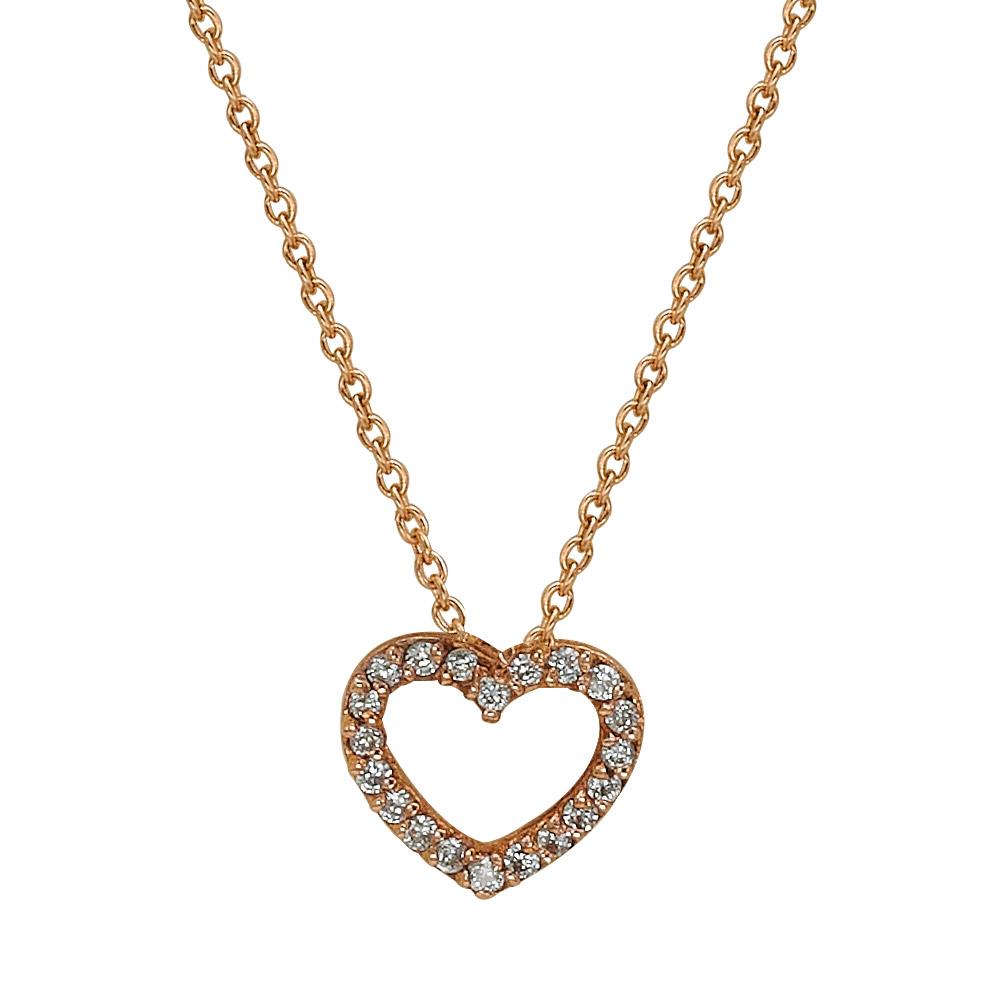 0,05 ct Diamant Herz Kette
