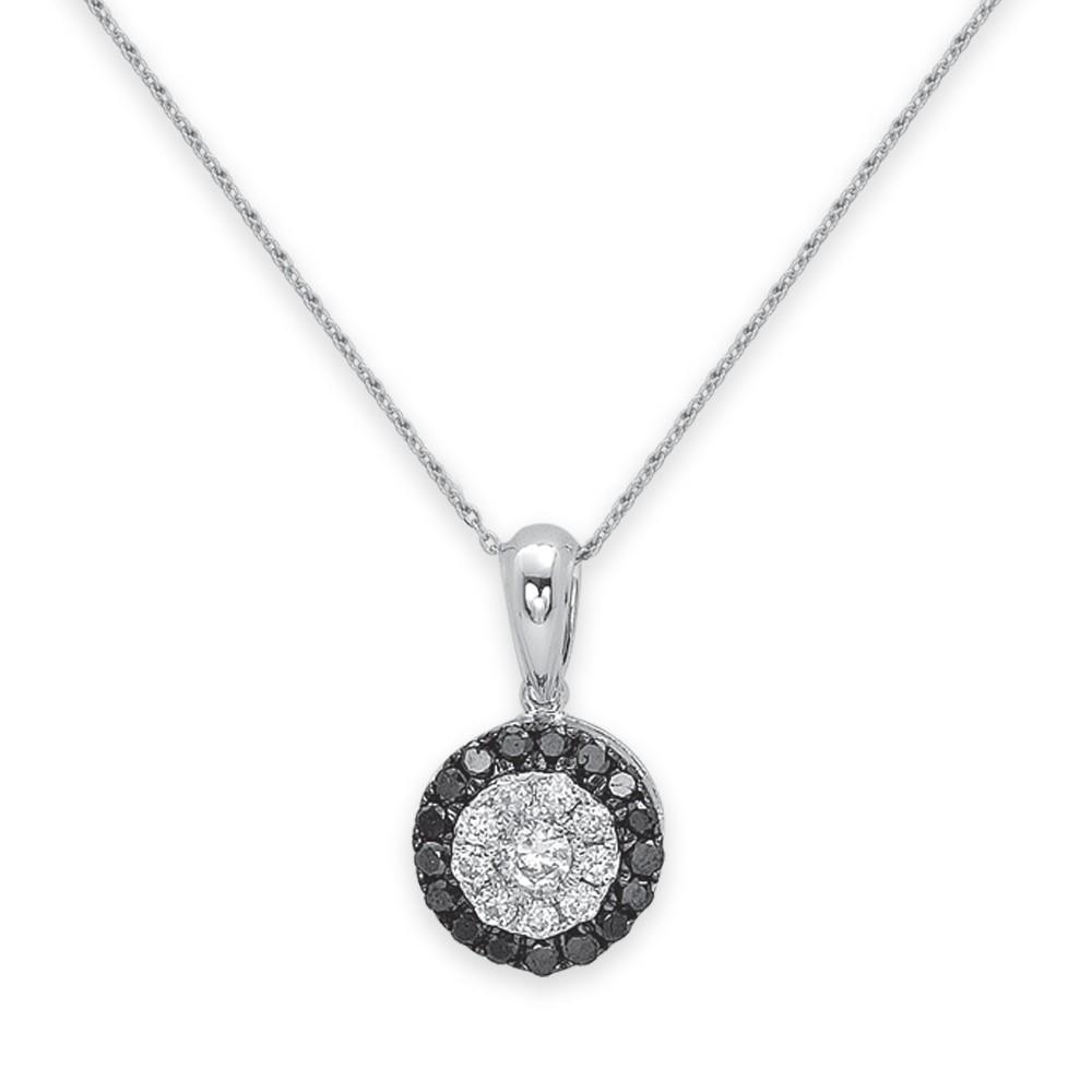 0,18 ct Schwarz Weiß Diamant Kette