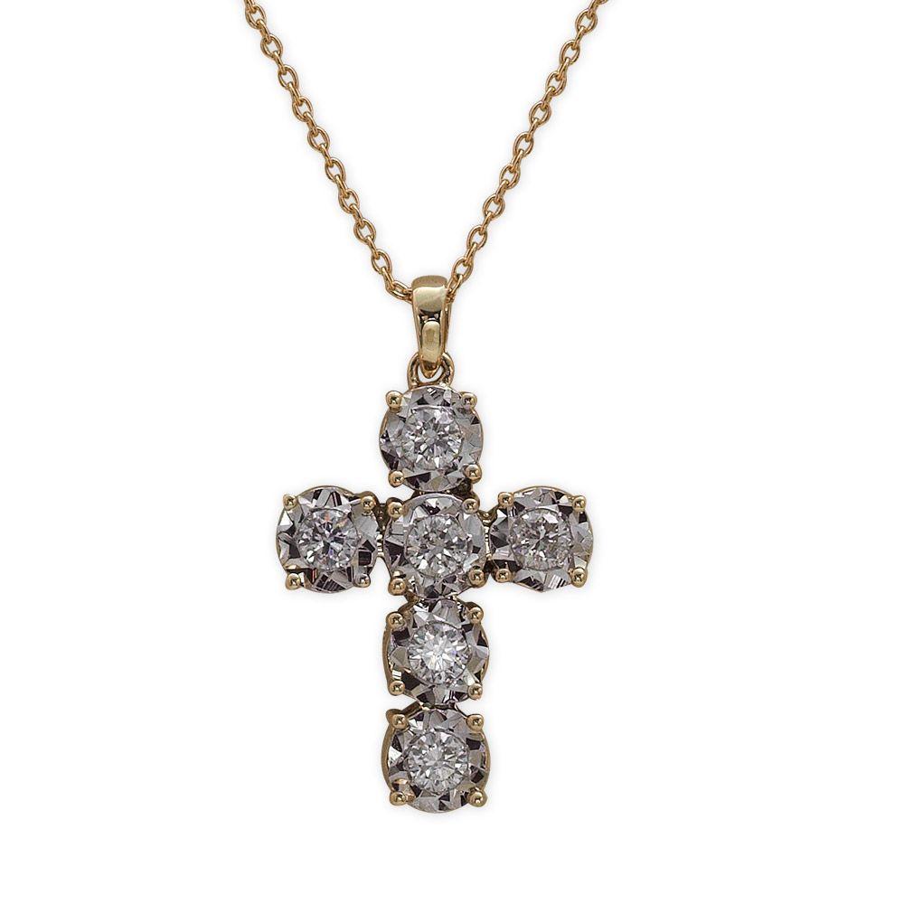 0,45 ct Diamant Kreuz Kette