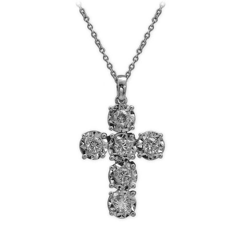 0,46 ct Diamant Kreuz Kette
