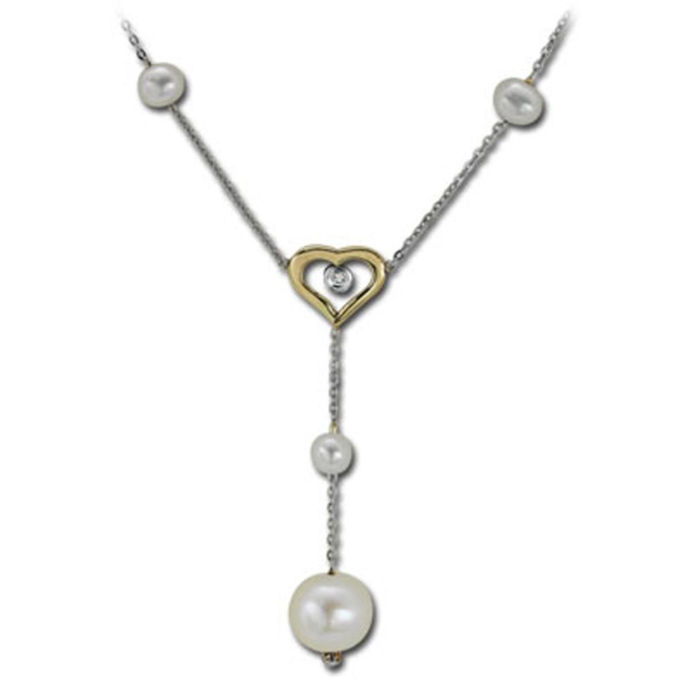 0,02 ct Diamant Perlen Kette