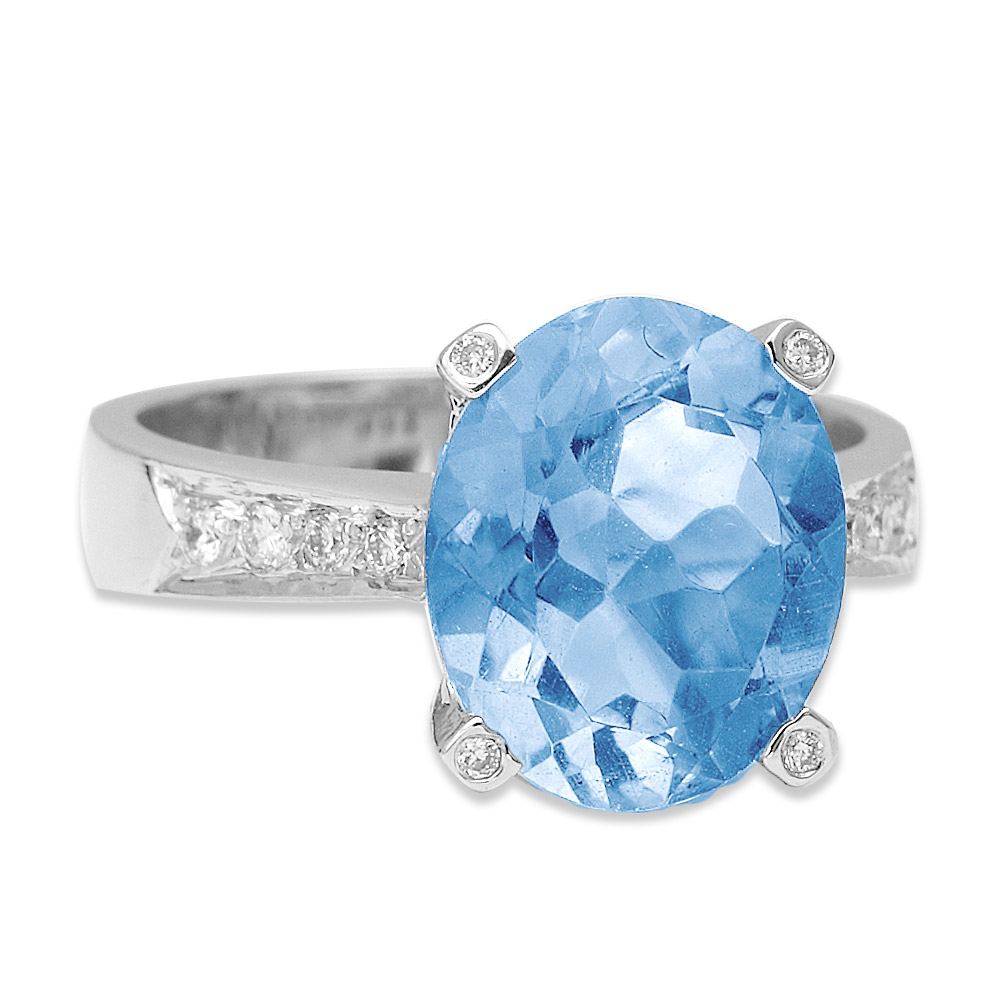 6,74 ct Blautopas Diamant Ring